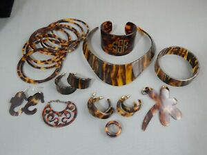 21 PC Vintage Faux Tortoise Shell Jewelry Lot Bangles Bracelets Necklace Earring