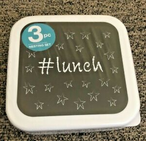 #lunch 3pc Nesting Set So Mine Lunch Containers. BPA Free Dishwasher Safe. New