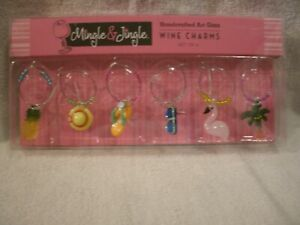 Set of 6 Summer Wine Glass Charms