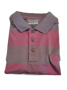 Under Armour Striped Gray Polo Shirt Mens Large Short Sleeve Golf GREENBRIAR GC $6.99