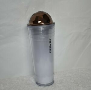 Starbucks 2012 24 oz. Tumbler Venti Cold Cup Gemcut Chiseled Dome Lid Copper