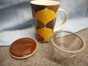 TREVANA Ceramic Cup Mug 12 oz with Stainless Steel Tea Infuser Strainer
