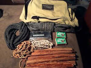 Camping Gear back pack matches rope fire wood emergency blanket and leathe
