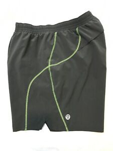 Men's🍀LULULEMON L Run Pace The Shorts Liner Grey Green Trim Made In Canada EUC $6.50