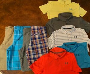 LOT 9 BOYS YOUTH DRI FIT UNDER ARMOUR HEATGEAR POLO GOLF SHIRTS Shorts MEDIUM $10.50