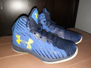 Under Armour Size 13 k Boys Basketball High Tops Shoes two tone Blue Yellow $5.80