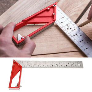 Stainless Steel Right Angle Ruler 45° 90° Woodworking Multi fuction $26.44