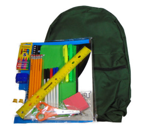 Backpack 17 inch Olive Green 30 Piece School Supply Kit Elementary Middle School