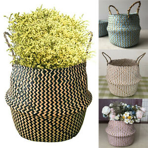 Woven Basket Plant Pot Baskets Seagrass Belly Storage Bag Home Garden Yard Decor