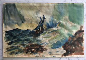 VINTAGE WATERCOLOR PAINTING SHIP IN ROCKY WATERS SEASCAPE SIGNED BILL SLATON $89.95