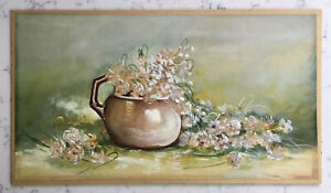 ANTIQUE VICTORIAN PAINTING ON PAPER ROMANTIC FLORAL STILL LIFE FLOWERS IN CUP $59.95
