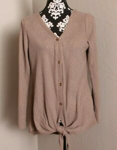 CUTE WOMEN#x27;S BUTTON FRONT WAFFLE L S TIE FRONT TOP SIZE OL OR LARGE