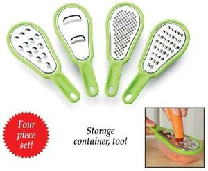 Set of 4 Kitchen Mini Food Graters Perfect for Smaller Foods Like Nuts or Spices