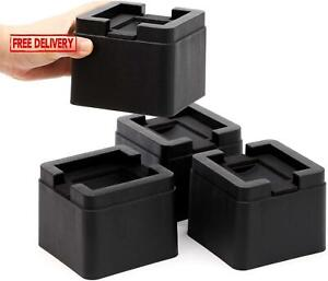 Fonddi Stackable Bed And Furniture Risers 3 Inch Heavy Duty Black Square Anti