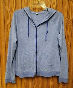 Under Armour Heat Gear Women's Blue Full Zip Hoodie Jacket Size L Large EUC $25.00