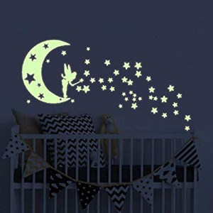 Moon Glow In The Dark Wall Sticker Fairytale Fairy And Stars Vinyl Luminous Wall