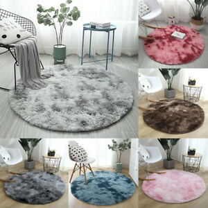 Round Shaggy Area Rug Tie Dye Carpet Fluffy Floor Mat Anti Skid Rug Bedroom Home