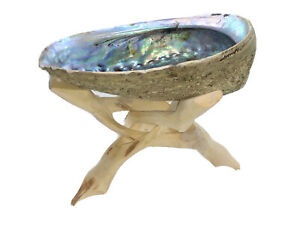 HUGE ABALONE SHELL TRIPOD STAND INCENSE SAGE HOLDER KIT MEDITATION DECORATION