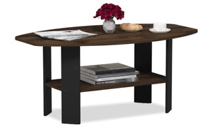Modern Black Coffee Table Wood End Side Shelves Shelf Living Room Furniture