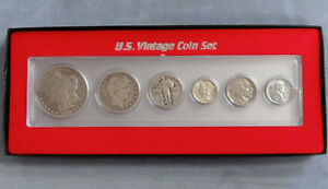 6pc Silver Vintage Coin Set Gift Boxed Steel Cent to Morgan Dollar $62.45