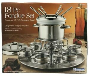 Tramotina 18pc Fondue Set Stainless Steel Made in Brazil New