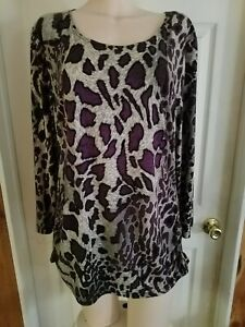 Gorgeous Purple Black Animal Print Peter Nygard Women's Blouse Size L