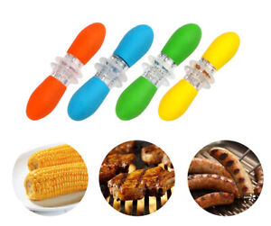 4 Pairs Stainless Steel Corn Cob Holders with ABS Handle BBQ Fork for Home Party