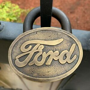 Ford Large Brass Lock W Keys Ford Logo Padlock Advertising Antique Finish $54.99