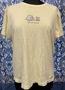 LIFE IS GOOD L Large Yellow Bed amp; Breakfast Campfire Tent Short Sleeve T Shirt