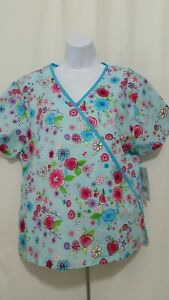 H.Q. SCRUBS LARGE MULTI COLOR FLOWERS SCRUB TOP NEW WITH TAGS