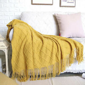 Boritar Throw Blanket Warm Knit Textured Solid for Winter Bed Sofa Couch 50x60quot;