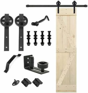 Unfinished Barn Door with sliding Hardware Kit 20 24 28 30 32 36 38 40 42 46#x27;#x27;