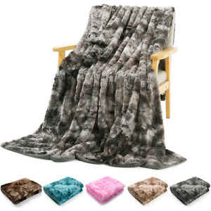 Faux Fur Throw Blanket Plush Soft Warm Sherpa for Bed Couch Sofa Tie Dyeing Home