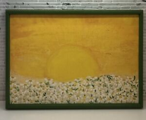 Small Vintage Painting Field Of Daisies Sunshine Signed By Artist 1970s Era $69.99