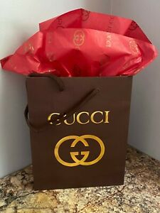 NEW GUCCI Brown Shopping Bag Gift Bag and GUCCI Red Gold Logo Tissue Paper