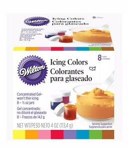Wilton Set of 8 Concentrated Gel Icing Colors ½ oz Jars $9.99