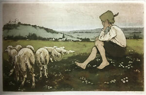COLOR ETCHING Signed HANS THOMA? Aquatint German SHEPHERD amp; FLOCK $85.00