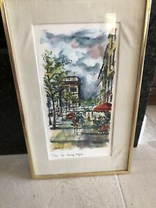 Arno Champs Elysees Paris Lithograph Signed Print $30.00