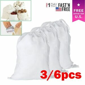 3 6x Reusable Fine Mesh Cotton Nut Milk Cheese Cloth Bag Cold Brew Coffee Filter
