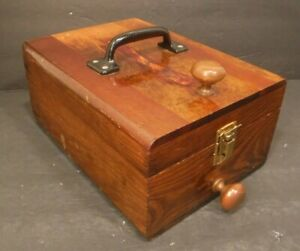 Antique Vintage Wood Box With Metal Handles And Knobs Nice Patina Look $16.95