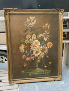 Vintage Antique Oil Painting On Board Of A Pretty Floral Bouquet In A Vase $379.00