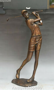 20quot; Big Chinese Bronze People Human Woman Belle Beauty Girl Play Golf Statue $399.00