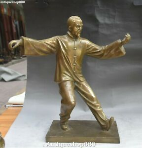 17quot; Bronze People Human Old Man Traditional Exercise Taiji Play Tai Chi Statue $499.00