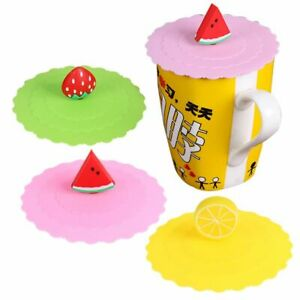 Silicone Cup Cover Reuseable Cartoon Fruit Tea Coffee Mugs Kitchen Home Sealed U