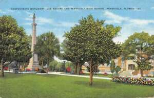 Pensacola Florida Confederate Monument Lee Square and High School PC AA19267 $14.75