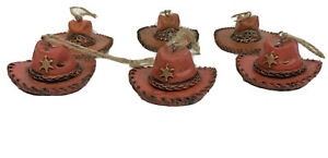 Western Hat Ornament Set Christmas Resin Home Decor Cowboy Hang