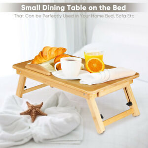 Portable Folding Bed Lap Desk Bamboo Laptop Breakfast Serving Tray Table Stand
