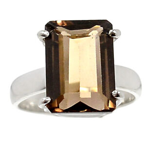 Brown Faceted Smoky Topaz 925 Sterling Silver Ring Size 8 $33.99