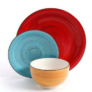 12 Piece dinnerware set Plates Kitchen Dishes Dinner Bowls COLORFUL hand painted
