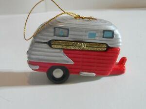 Retro Vintage Camper Camping Porcelain Hinged Trinket Box Christmas Ornament NEW